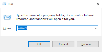 Run dialogue box with Winver entered into the 'Open' field